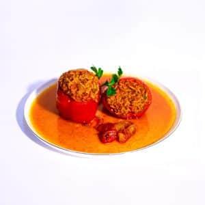 פלפל ממולא בשר אורז וישבי טיבול ברוטב עגבניות